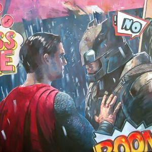 """When Batman  meets Superman"" olej na płótnie 80x130cm, 2018"